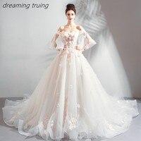 Блестящее бальное платье свадебное платье цвета шампань с 3D цветами с расклешенными рукавами длинное свадебное платье свадьба платье хала