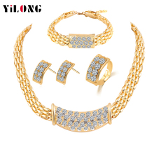 Luxury Hollow out Gold Plated Alloy Charm 1 Set Full Rhinestone Jewelry Set With Necklace/Earrings/Bracele/Ring