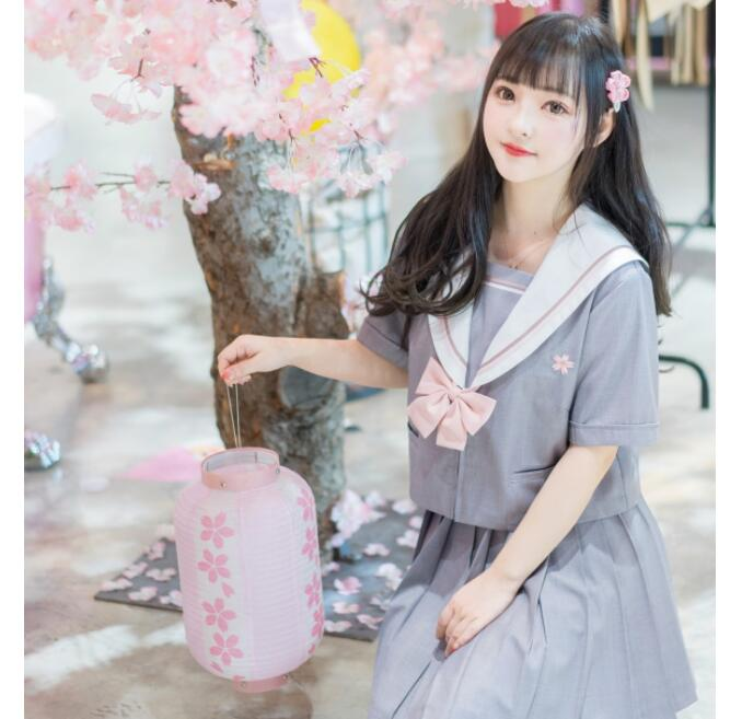 Japanese Style School Uniform Girls Sakura Embroideried 2020 Spring High School Women Novelty Sailor Suits Uniforms