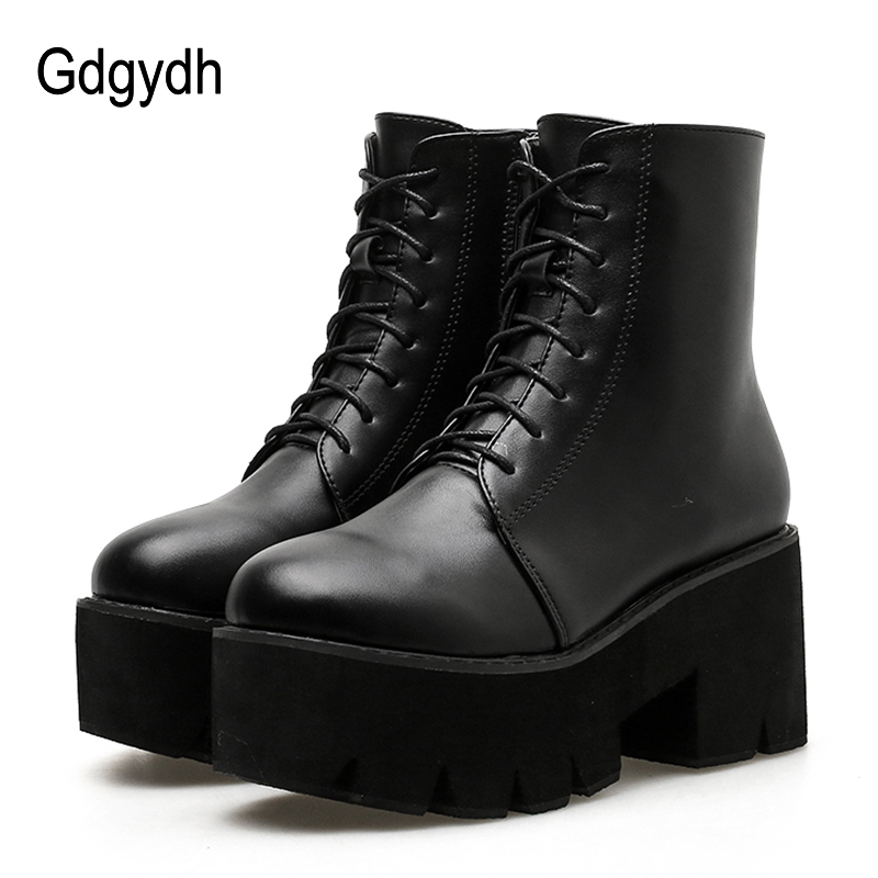 Gdgydh 2018 New Women Ankle Lacing Motorcycle Boots Round Toe Autumn Platform Boots Soft Leather Square Heels Casual Shoes