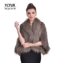 YC Fur женское пончо из пашмины зимние мягкие теплые вязаные шали из натурального кроличьего меха с мехом енота меховой воротник-шарф Обертывания для женщин