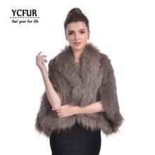 YCFUR New Arrival Real Fur Ponchos Women Handmade Knit Natural Rabbit Fur Shawls With Raccoon Dog Fur Collar Scarves Wraps