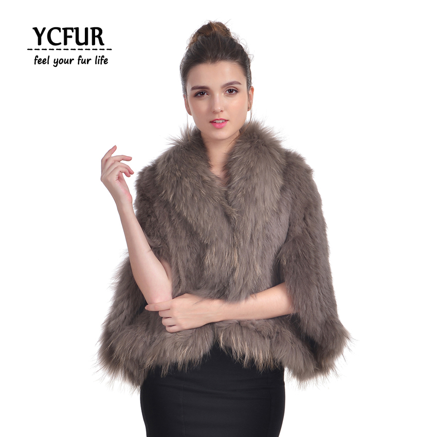 YCFUR Women Poncho Pashmina Winter Soft Warm Knit Real Rabbit Fur Shawls With Raccoon Dog Fur Collar Scarves Wraps For Women