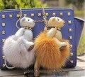 Brand new bear rivet keychains  fox hair bulb 3d Fur handbags accessories car key chain pendant