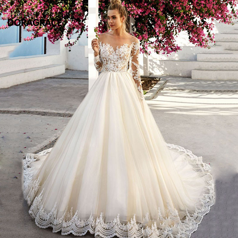 vestidos de novia Romantic Applique Tulle A Line Long Sleeve Wedding Gowns Designer Dresses DG0092