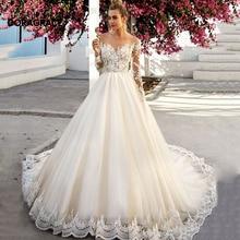 vestidos de novia Romantic Applique Tulle A Line Long Sleeve Wedding Gowns Designer Dresses DG0092