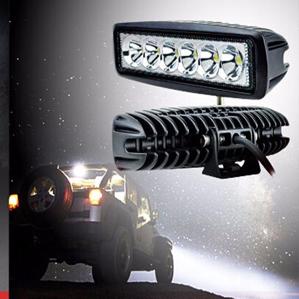"2x 4/"" Inch 6 LED 18W 12V Spot Flood Beam Work Light Off Road Car Truck Boat"