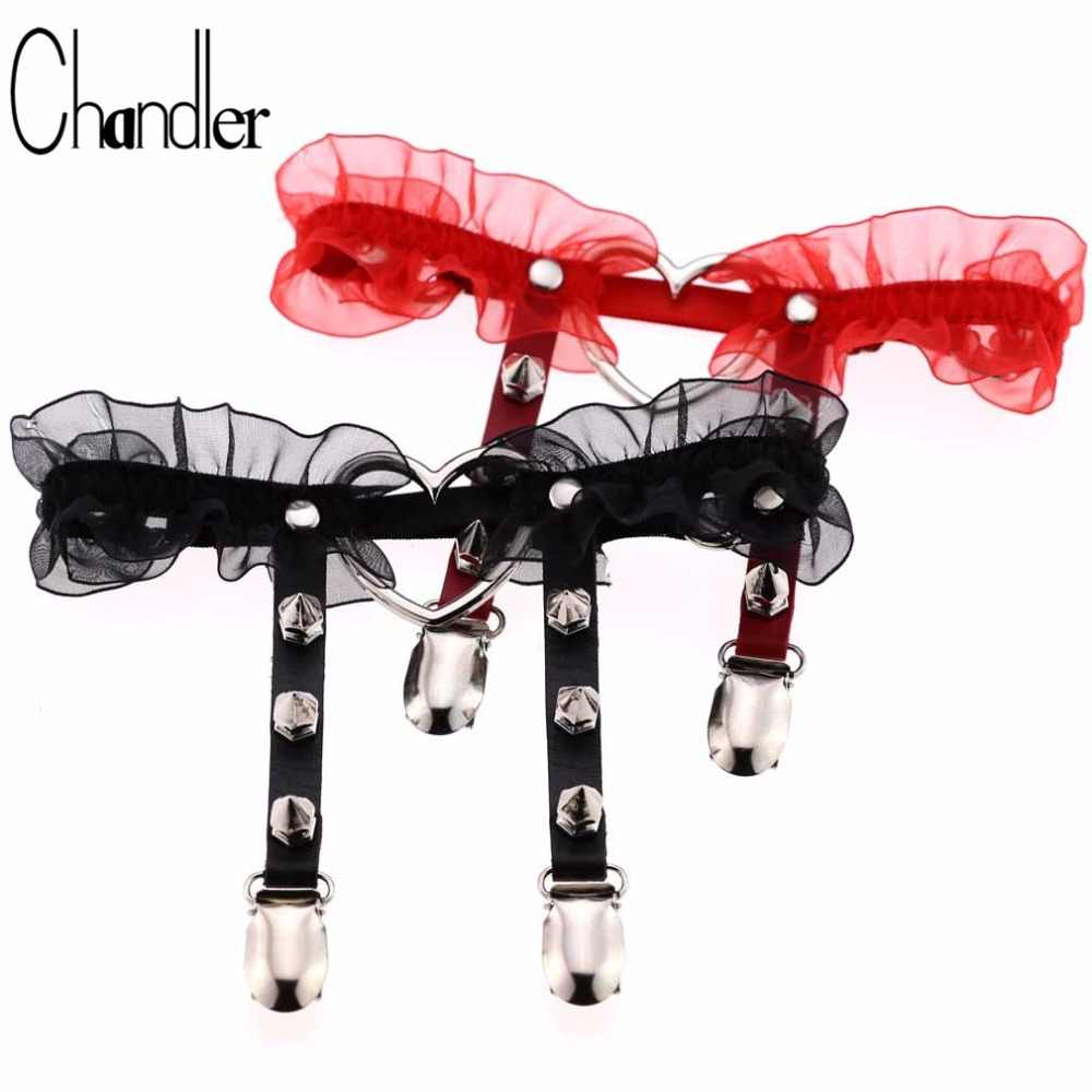 Chandler 1pc Nylon Lace Suspenders Sexy Women Sock Gothic Harajuku Elastic Garter Belt Punk Gothic Leather Heart Rivet Leg Ring