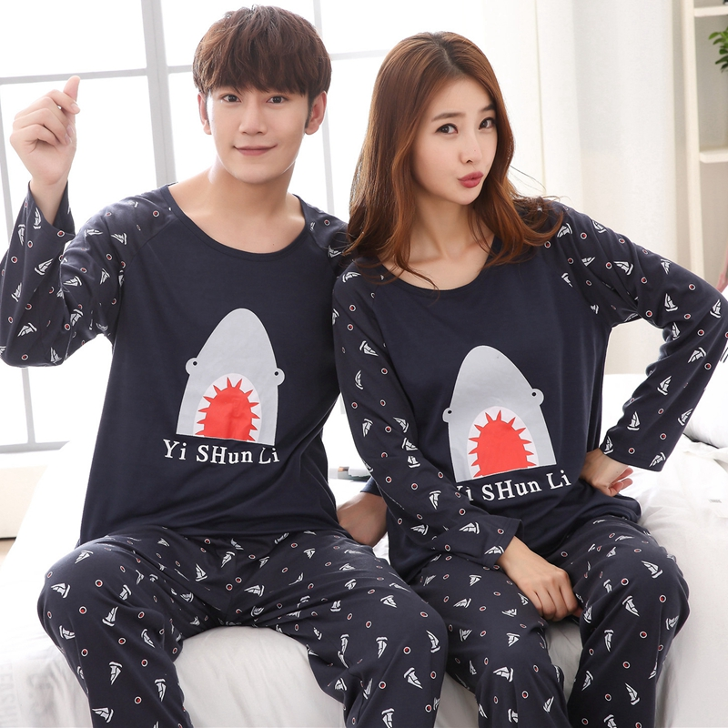 Couples Plus Size Cotton Pajama Sets Women Autumn Long Sleeve Cartoon Print Pyjama Pijama Men Lounge Homewear Clothing