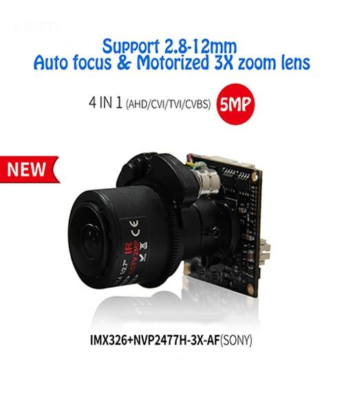 AHD 5MP SONY IMX326 Motorized Zoom & Auto Focal 2.8-12mm Lens 4 in1 Module AHD/TVI/CVI/CVBS CCTV Camera Board free shipping все цены