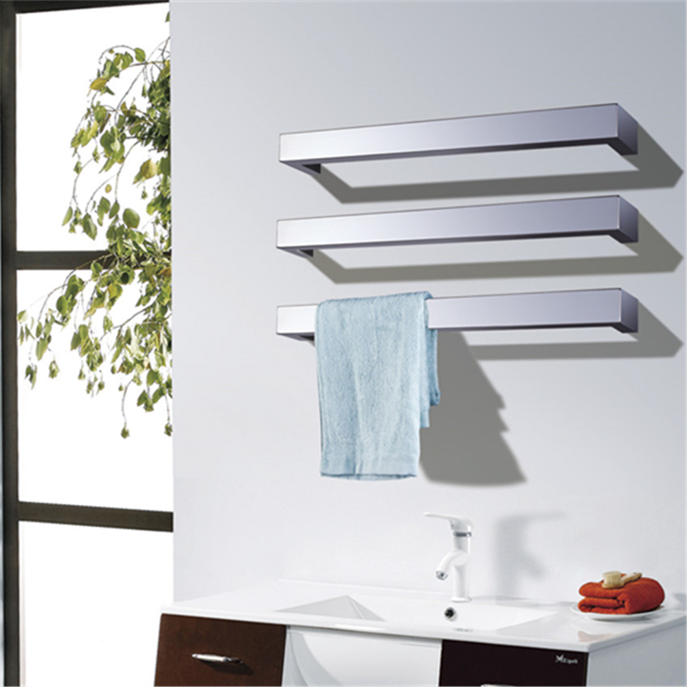 Купить с кэшбэком Polish/Matt Black color Free spacing towel rack wall mounted Towel Warmer heated towel rail single square Towel Bar HZ-924B