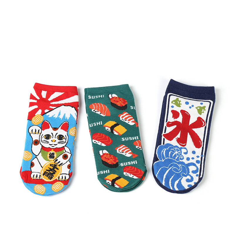 2018 New Women Cotton   Socks   Cartoon Lucky Cat Cute Kittens Short   Socks   Japanese Fashion Creative Funny   Socks   Slippers