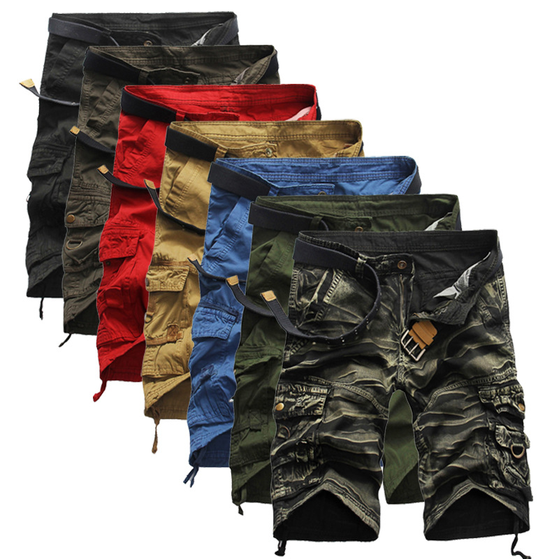Spring Summer Mens Multi-Pocket Trousers Casual Cargo Overalls Men's Millitary Clothing Joggers Camouflage Army Camo Shorts