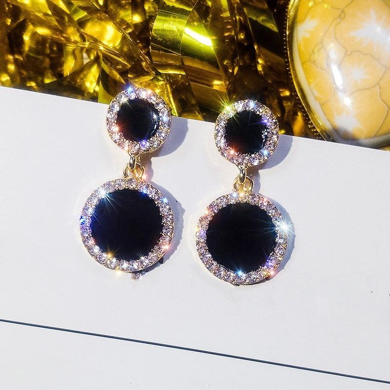 2020 Hot Sale Fine Jewelry 925 Silver Needle Black Round Earrings Female Crystal From Austrian Temperament Shiny Fit Women