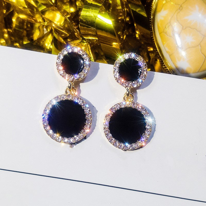 2020 Hot Sale Fine Jewelry 925 Silver Needle Black Round Earrings Female Crystal From Swarovskis Temperament Shiny Fit Women