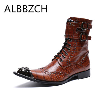 Luxury metal pointed toe men boots western cowboy ankle boots wedding dress shoes men career work fashion boots botas big yards