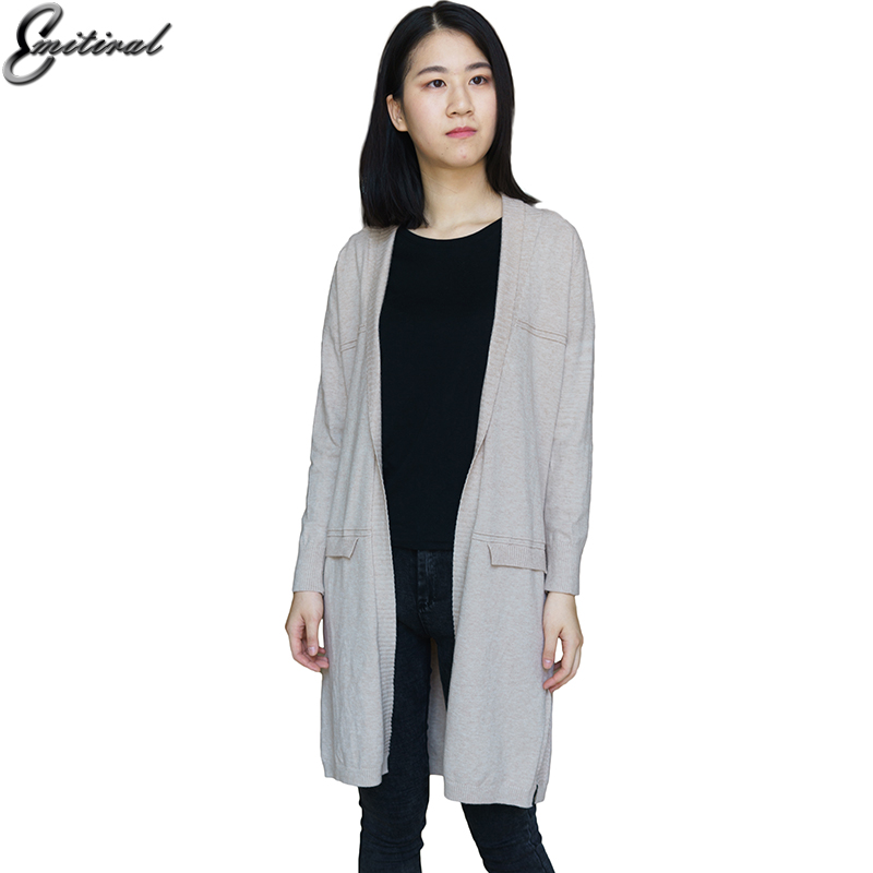 2017 Winter Autumn Casual Long Knitted Women Cardigan Wool Loose Solid Color Design Sweater Jacket Pockets Turn Down Collar