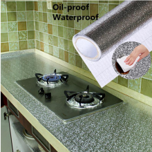 Кухня плита Алюминий Фольга маслонепроницаемый Стикеры s Анти-помогает бороться с высокой температуре самоклеящиеся Croppable стены Стикеры 40*100cmA30718