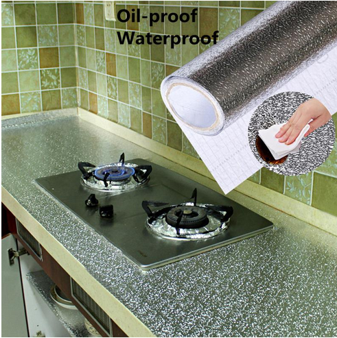 Kitchen Stove Aluminum Foil Oil-proof Stickers Anti-fouling High-temperature Self-adhesive Croppable Wall Sticker 45*100cmA30718