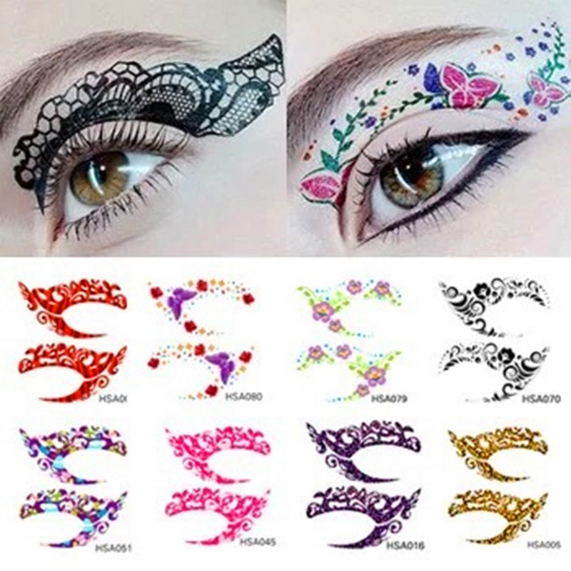 2017 New Exclusive 90 Styles Party Makeup Eye Rock Face Tattoo Waterproof Disposable Eye Shadow Sticker Performance Party Tattoo
