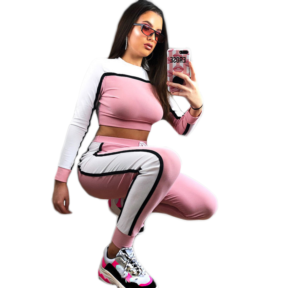 YJSFG HOUSE Fashion Women 2PCS Tracksuits Sets Lady Striped Cropped Top Hoodie Long Pants Loungewear O Neck Suits Sportswear Hot in Women 39 s Sets from Women 39 s Clothing