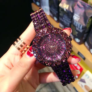 Image 4 - 2020 חדש סגנון סגול נשים שעונים למעלה יוקרה פלדה מלאה ריינסטון שעוני יד ליידי קריסטל שמלת שעונים נקבה קוורץ שעון