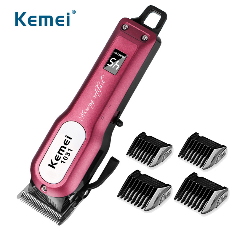 Hair Trimmer Powerful Professional Hair Clipper 2000mAh Lithium Battery Rechargable Hair Cutting Machine + 4 Size Limit Comb D43
