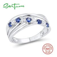 Silver Rings For Women Blue White Cubic Zirconia CZ Stone Women Rings Pure 925 Sterling Silver