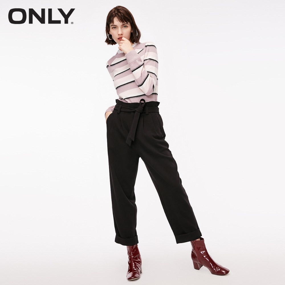 ONLY  Women's Elasticized High Waist Rolled Cuffs Loose Fit Casual Crop Pants |118350525