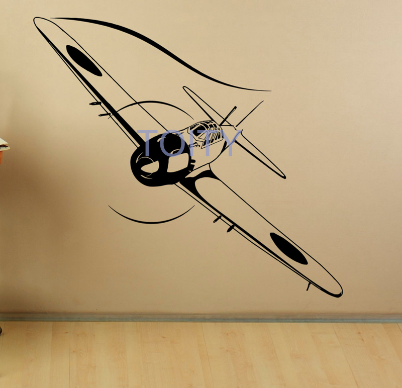 Biplane Wall Decal Japanese Air Force Vinyl Sticker Home Art Decor Bedroom Design Mural H56cm x W61cm/22.5 x 24