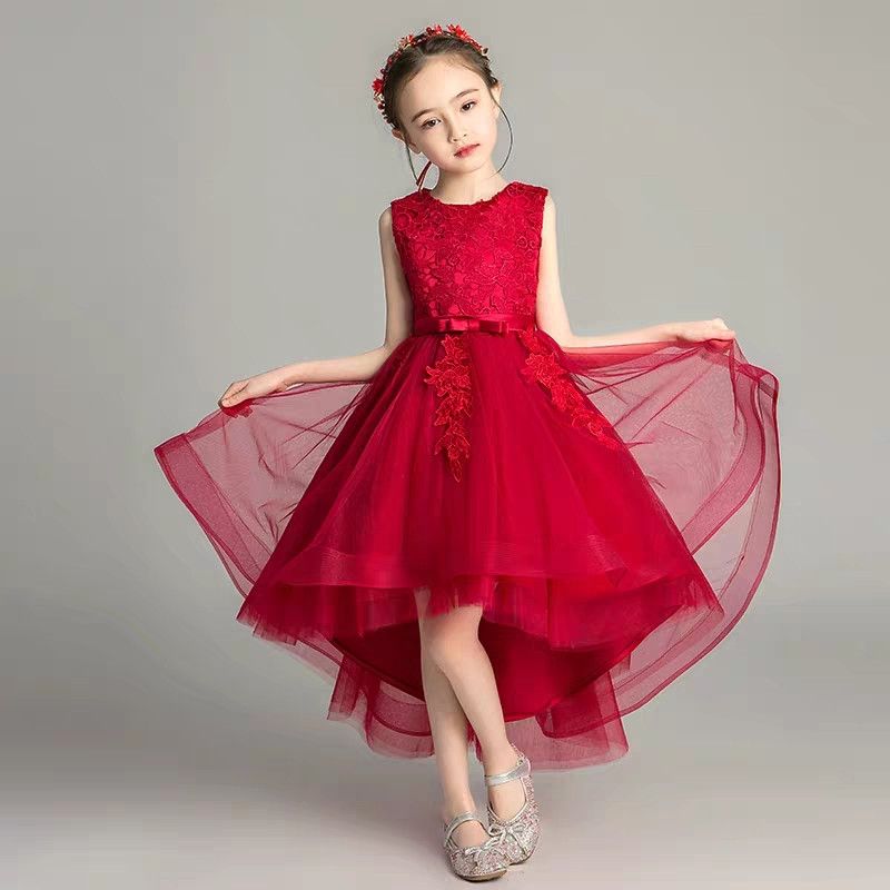 2019Kids Children Wine-red Round Collar Birthday Evening Party Front Short Back Long Lace Dress Infant Little Girls Prom Dress2019Kids Children Wine-red Round Collar Birthday Evening Party Front Short Back Long Lace Dress Infant Little Girls Prom Dress