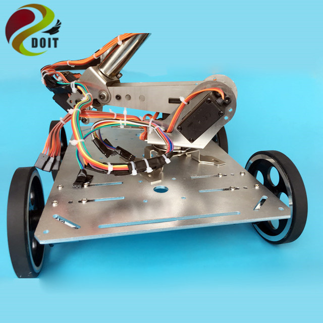 DOIT C600 Smart Car Chassis with Robotic Arm+Arduino Development Board+ Big Power Drive Board for DIY Robot Project