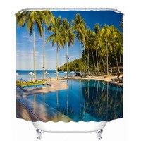 3d Sea view Coconut Baum und Strand Muster Dusche Vorhänge Bad Vorhang Verdicken Wasserdicht Verdickt Bad Vorhang