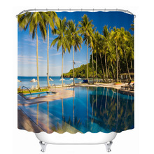 3d Sea view Coconut Tree and Beach Pattern Shower Curtains Bathroom Curtain Thicken Waterproof Thickened Bath Curtain window scenery coconut tree shower curtain and rug