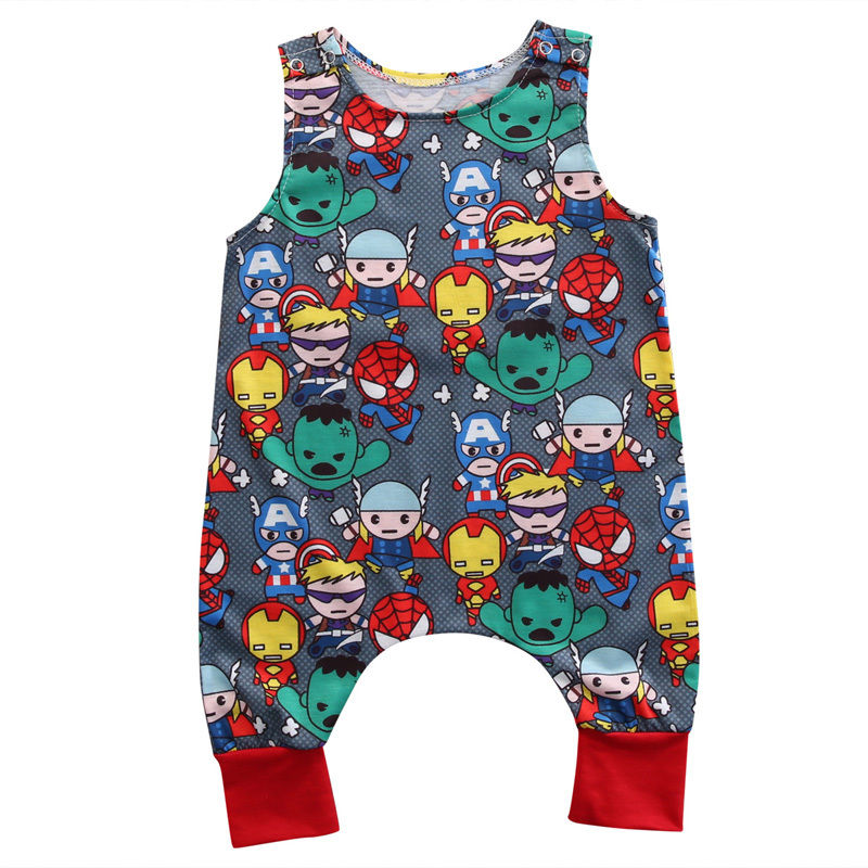 2017 Babies Characters Sleeveless Rompers  Kids Boy Girl Infant Summer Cartoon Heroes Romper Clothes Outfits 0-24M 3pcs set newborn infant baby boy girl clothes 2017 summer short sleeve leopard floral romper bodysuit headband shoes outfits