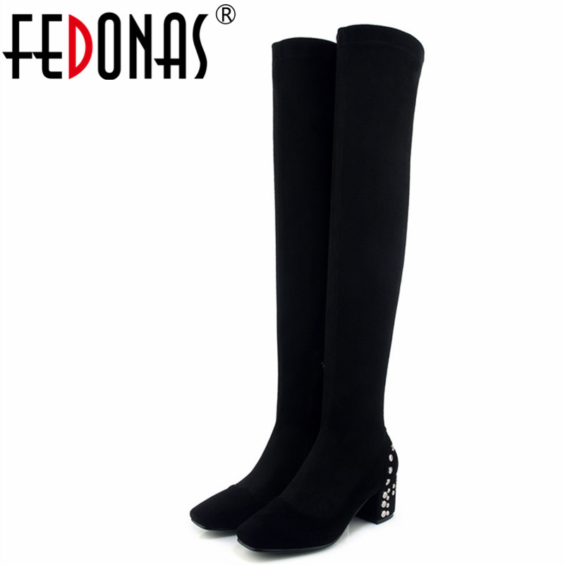 FEDONAS New Women Night Club Party High Boots Rivets High Heels Autumn Winter Warm Long Shoes Woman Sexy Over The Knee Boots new sexy women boots winter over the knee high boots party dress boots woman high heels snow boots women shoes large size 34 43