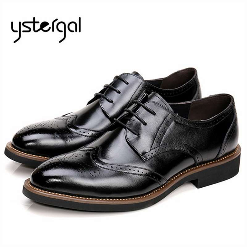 YSTERGAL Handsome Black Mens Lace Up Genuine Leather Shoes Men Formal Oxford Shoes Wedding Dress Shoe Chaussure Homme Creepers choudory summer dress crocodile skin shoes men breathable prom shoes full grain leather pointy mens formal shoes shoe lasts