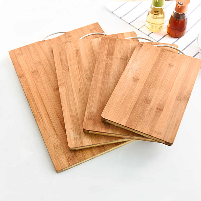 New Thick Strong Wood Cutting Boards Bread And Fruit Vegetables Chopping Board With Metal Handle Kitchen Accessories
