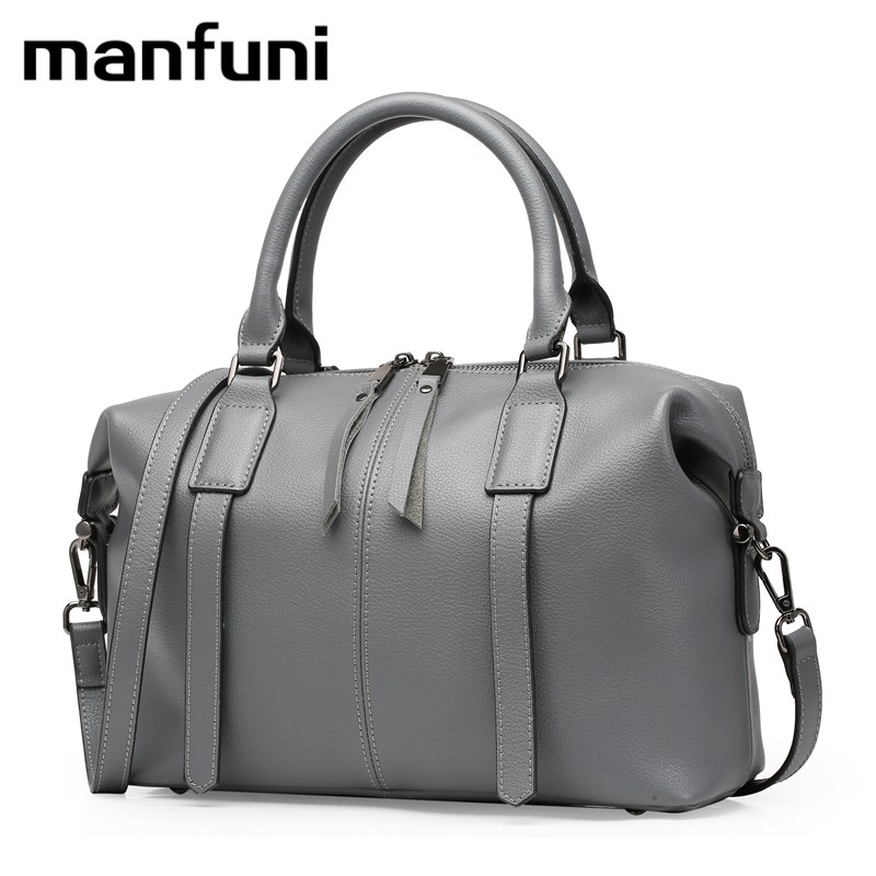 MANFUNI Fashion Woman Bags Genuine Leather Handbags Shoulder Bag Tassel Casual Messenger Bags Bolso Ladies Crossbody Bag 0791 new genuine leather bags for women famous brand boston messenger bags handbags tassel tote hand bag woman shoulder big bag bolso