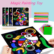 1Set Magic Drawing Paper Toy Children Birthday Gifts Educational Colored Painting Board For Kids Sticker