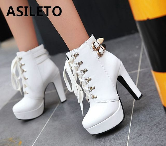 95c23c17b08 ASILETO Gothic Ankle boots women motorcycle casual high heels shoes Platform  booties cross-tie round