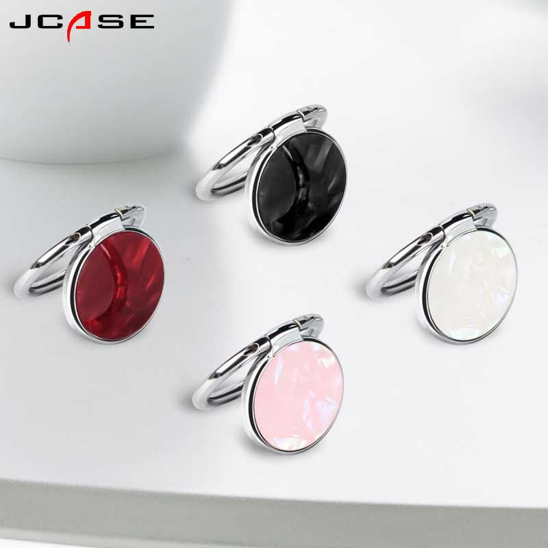 JCASE Round Metal Shell Finger Ring Smartphone Stand Holder Mobile Phone Holder Stand For IPhone Huawei All Smart Phone Sticker