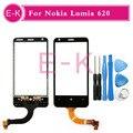 """Original 3.8 """"para nokia lumia 620 n620 versão 3 v3 digitador da tela de toque sensor de toque de vidro painel de ferramentas + frete grátis"""