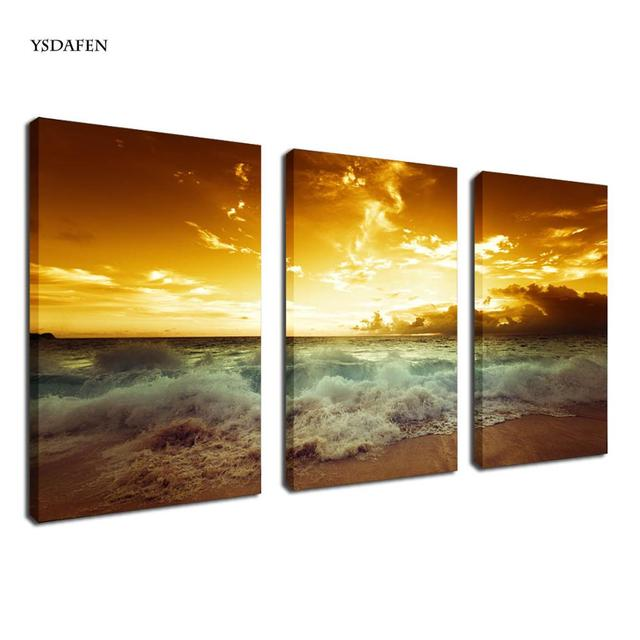 3 pcs beach painting Seascape Waves Painting wall art for home ...