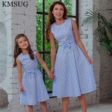 Mother Daughter Dresses Fashion Sleeveless Plaid Family Look Matching Clothes Cotton Mom And Daughter Dress Family Clothing D11 family look clothes brand european black rose pleated a shape sleeveless skirts women midi sundress mother and daughter dresses