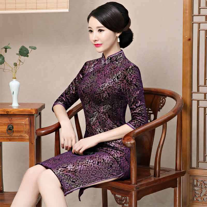 209d2535e 2019 Autumn Velvet Chinese Style Mother Dress Vintage Chinese Women Floral  Beaded Qipao Slim New Cheongsam