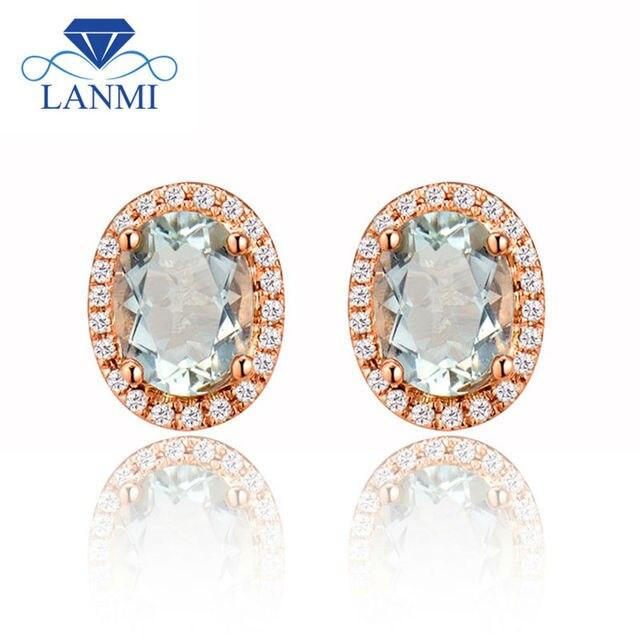 New Oval 6x8mm 14kt Rose Gold Natural Green Amethyst Stud Earring Diamond Earrings E0053