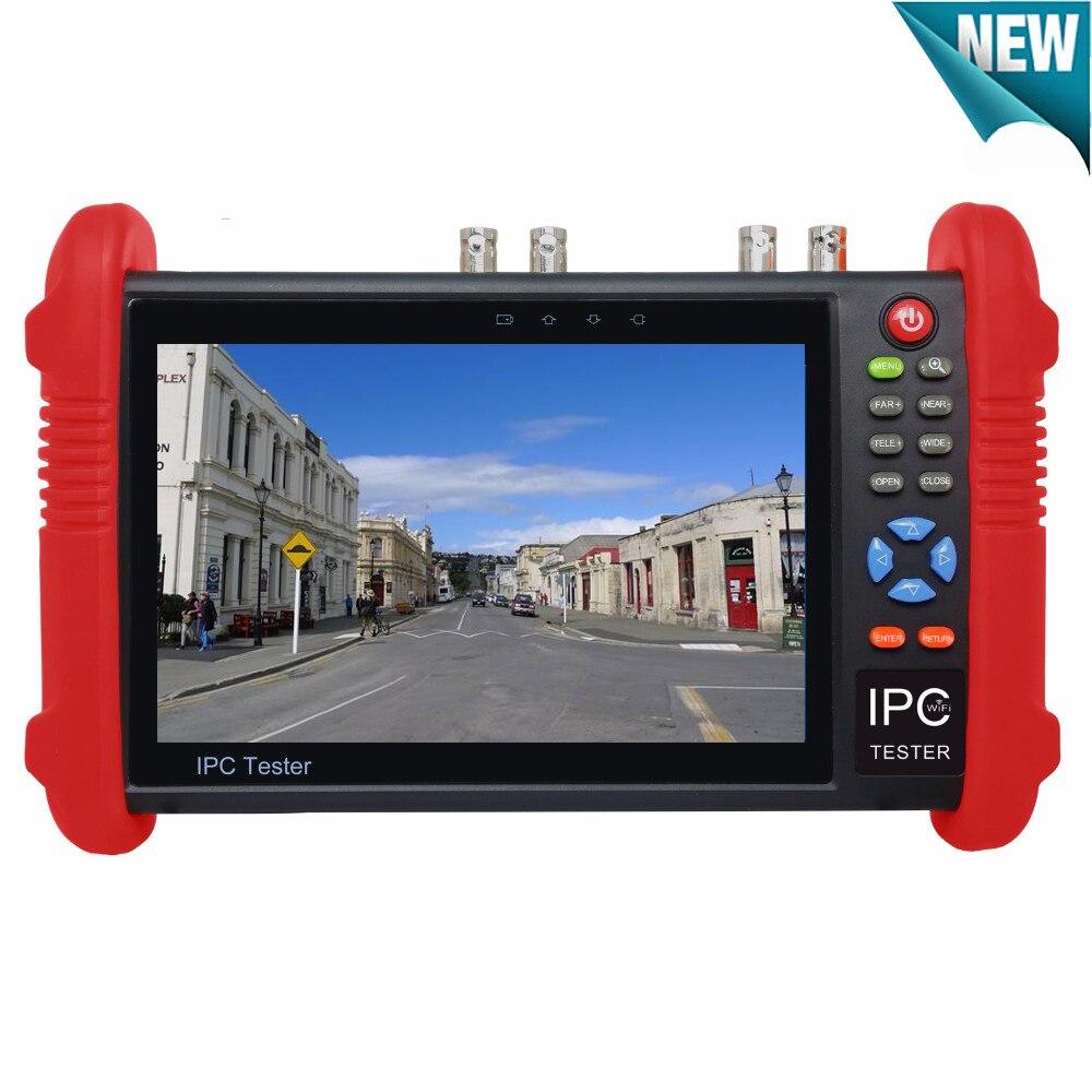 7 Inch cctv tester monitor 6 in one Analog IP SDI TVI CVI AHD camera tester with WIFI Onvif PTZ POE 12V 1080P Output
