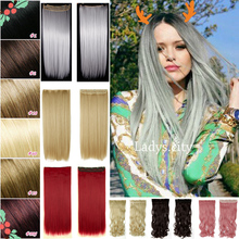 Factory Price 26″ 66CM As Real Natural Hair Extention 3/4 Full Head Clip in Hair Extensions Straight Blue Purple Free SHIP