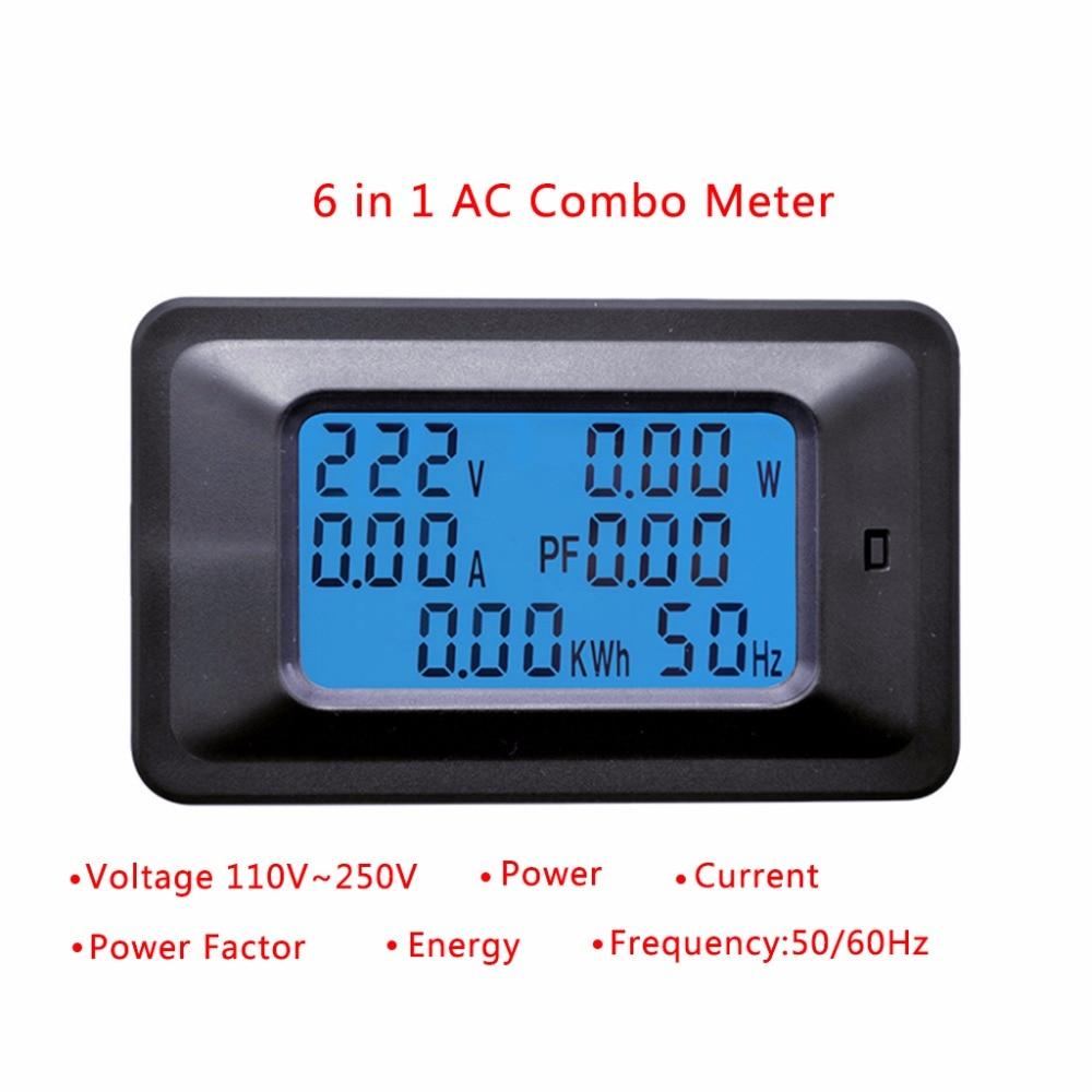 20A 100A AC LCD Digital Panel Power Watt Meter Monitor Voltage KWh Voltmeter Ammeter Tester font
